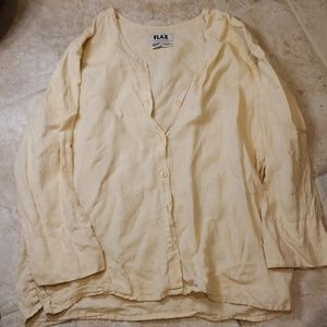 FLAX Linen button down blouse pale yellow Medium